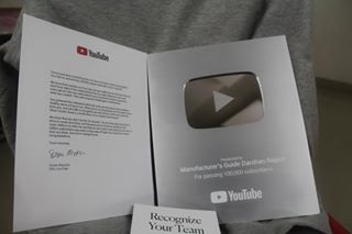 Finally he received the silver play button from Youtube